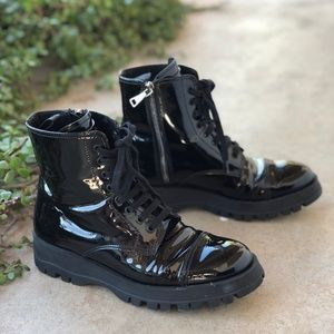 Prada Black Patent Leather Moto Ankle Boots